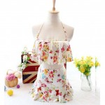 Two piece sexy Halter Flat angle Small chest High waist Micro White with Butterfly and Floral design Swimsuit