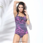 Sexy Retro Strapless Tie neck Full cup Bikini One piece Slim fit Sweetheart Halter Multicolor Swimsuit