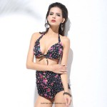 Sexy Retro Strapless push up neck Bikini two piece high waist Slim fit Pink Floral and Black Swimsuit