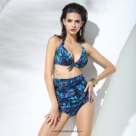 Sexy Retro Strapless Tie push up neck Bikini two piece high waist Slim fit Floral design Sea blue Swimsuit