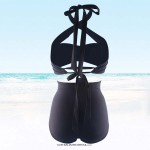 Sexy Retro Strapless Tie plunging neck line with crossover Rompers two piece Bikini high waist Slim fit Floral plain Black Swimsuit