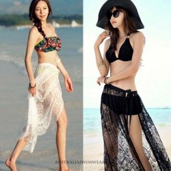 Floral halter and Push out necks Two piece Retro with and without straps cotton Netted bottom cover Ups  Magnificent Black and White Swim type Bikini Swimsuits Only the Cover Ups