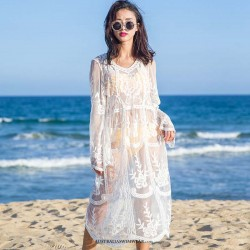 Single piece Bikini long sleeve low v-neck lace knitted type White Beachwear sexy Swimsuit