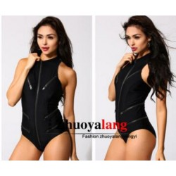 Shaperdiva Women's Sexy Monokini Swimsuit Australia Swimwear Australia Front Zipper Design One Piece Bathing Suit