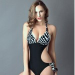 PinkQueen? Womens Nylon Spandex Black Polka Dot Side Tie One Piece Swimsuit