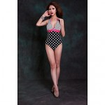 Women Halter One Pieces , Dot Push Up Wireless Padded Bras Nylon Spandex White Pink Blue Red