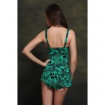 Womens Straped One Pieces , Floral Push Up Padded Bras Nylon Spandex Blue Green Red