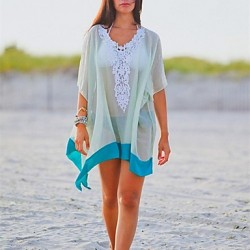 Women's Cover-Ups , Solid Chiffon White