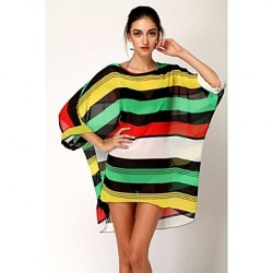 Women's Fashion Sexy Multicolor Stripe Bikini Australia Swimwear Australia Swimsuit Australia Sun Prevention Beach Cover-up