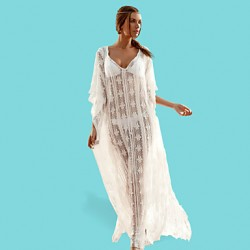 Women's Fashion Lace Swimwer Bikini Australia Beach Cover Up Sun Prevention ¾ Sleeve Maxi Dress