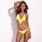 Perfection & Confidence – RELLECIGA Yellow Full-Lined Ruffle Triangle Top with Light Removable Padding