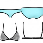 Women's Color Block Blue Pink Straped Bikini