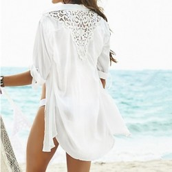 Women's Solid Beach Cover Up Sun Prevention Shirt