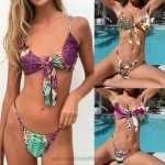 Two Piece Swimsuit Bowknot Sexy Snake Print Leopard Print Floral Printed Bikini Push Up