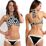 Women Black And White Plaid Underwire Bra Padless Bra Color Block Straped Tankinis 2 Pieces A Set