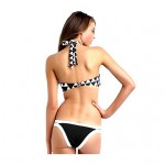 Women's Black and White Plaid Underwire Bra/Padless Bra Color Block Straped Tankinis 2 Pieces a Set