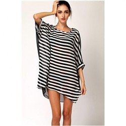 Women's Stylish Black&White Stripe Sun Prevention Cover-up