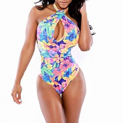 Women's Halter One-pieces , Floral Wireless/Padless Bra Others Multi-color