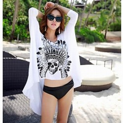 Women's Fashion Sexy White Cotton Black Skull Swimwear Australia Swimsuit Australia Bikini Australia Sun Beach Cover-up