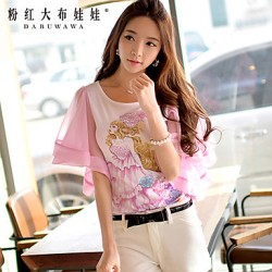 Pink DollWomen's Round Casual/Print/Cute Sleeveless T-shirt