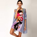 New Design Sexy Swimsuit Australia Cover ups Striped Above Knee Spandex Shirt Dress Short Sleeve Loose O-neck Beach Wear Dress