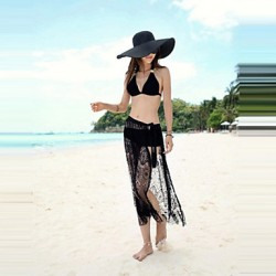 Dual Purposes Dress For Beach 2019 High Quality New Arrival Lace Cover Up Solid Black Hot Sale Fashion Mesh Cover Up