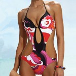 Women's Push-up Floral Print Straped One-pieces Swimwear(Nylon/Polyester)