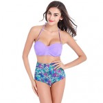 Women's High Waist Flowers Print Swimwear