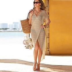 Women Solid Beige Swimsuits Australia Cover Up,Openwork V Neck Batwing Sleeve