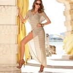 Women's Solid Beige Swimsuits Australia Cover-Up,Openwork V-Neck Batwing Sleeve