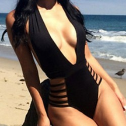 Women Solid Black One Piece Swimwear,Sexy Deep V Hollow Out