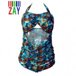ZAY Women's Push-up Animal Halter One-pieces Plus Size