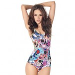 Women's Skeleton Flowers Floral Wireless/Padless Bra Floral Halter One-pieces (Polyester)