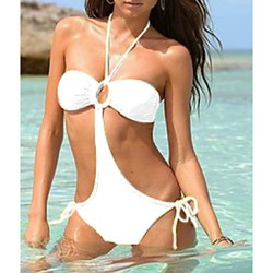 Women Halter Bandeau One Pieces , Solid Others White Pink Yellow