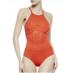 Women's Nylon Spandex Mesh Insert Padded Sexy One Piece Swimsuit