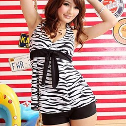 Women's Black & White Zebra Bow Knot Tankini Swimsuit