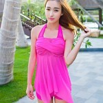 Women Halter Multi Pieces , Solid Spandex Pink Blue Red