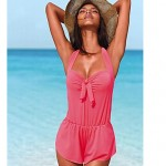 Women Halter Cover Ups , Solid Bandage Cross Wireless Padded Bras Polyester Spandex Blue Green Red Black
