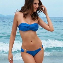 Sexy Bikini Australia Women Swimwear Australia Strapless Back Buckle Padded Draped Bathing Suit S758