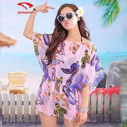 Women's Floral/Mesh Halter Cover-Ups (Polyester)SM7A08