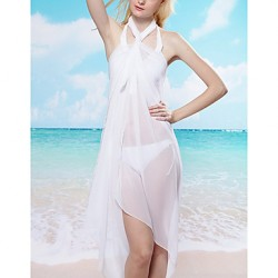 Women's Halter Cover-Ups , Solid Polyester White