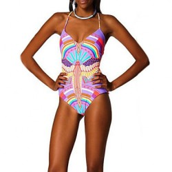 Women's Nylon/Polyester Wireless Floral Halter One-pieces Swimwear