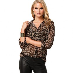2019 Spring Autumn New Arrival Women Blouse Long Sleeve Leopard Printed Fashion Women Sexy Shirt