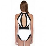 Women's Color Block Straped One-pieces (Rayon)