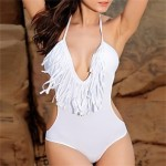 Women's Halter One-pieces , Solid/Tassels Wireless/Strapped Polyester/Spandex White