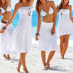 Women's Solid Black/White/Blue Swimsuits Australia Cover-Up,Casual Strapless
