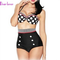Women Halter Tankinis , High Rise Floral Dot Bandage Push Up Wireless Padless Bra Cotton Blends Polyester Spandex White Black