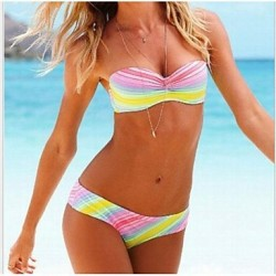 Women's Bandeau Bikinis Australia , Geometric Nylon Multi-color