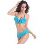High Quality Small Flounced Top Underwired Cup Sexy Lady Push up Popular High waisted Bikini