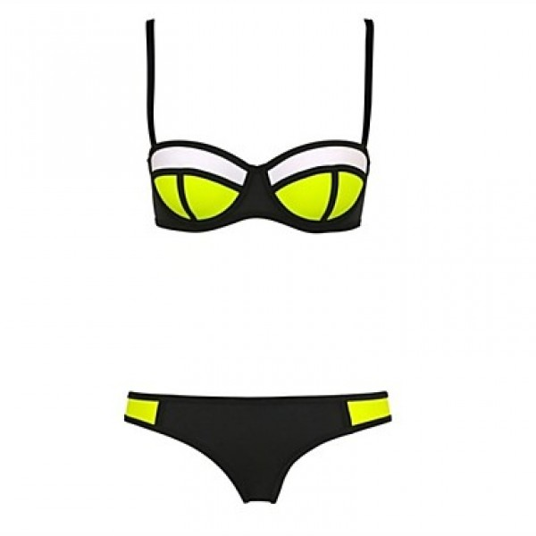 Women Halter Bandeau Bikinis Australia , Color Block Push Up Underwire Bra Nylon Spandex Yellow